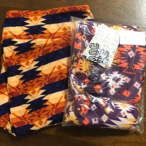 2 pairs new Aztec print LulaRoe TC2 leggings